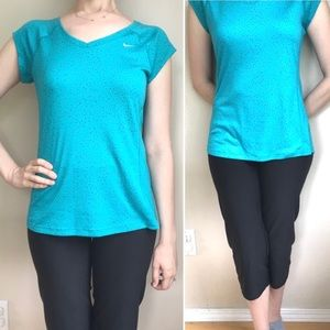 Nike Miler Dri-Fit Running Tee V-Neck Teal Sz S